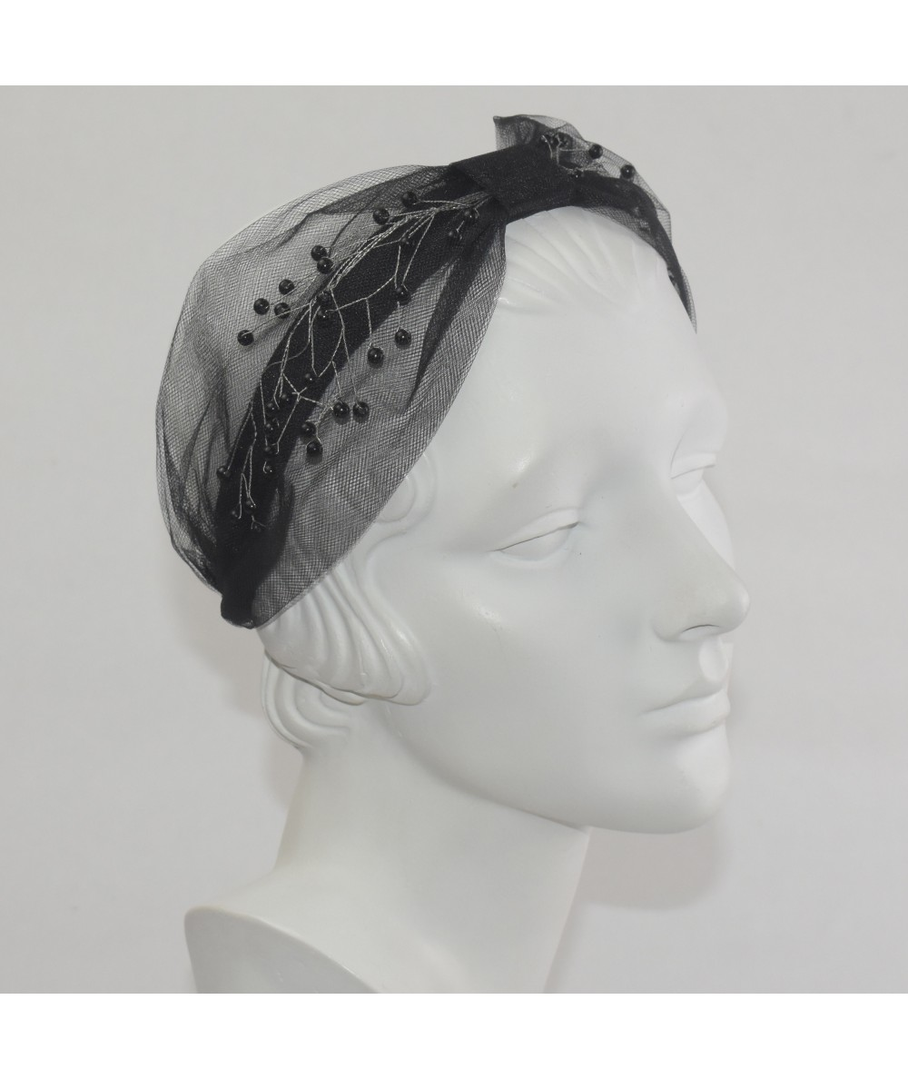 Black Extra Wide Tulle Center Divot Pearls Headband