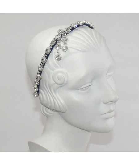 Flower Rhinestone Headband with Side Detail