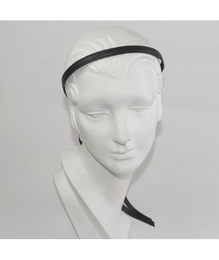 Leather Skinny Headband with Satin Long Tie