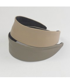 Leather Wide Headband Taupe and Wicker