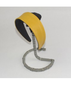 Leather Wide Headband Sun Yellow