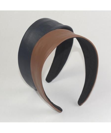 Leather Wide Headband Light Navy and English Tan
