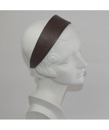 Leather Wide Headband Chestnut