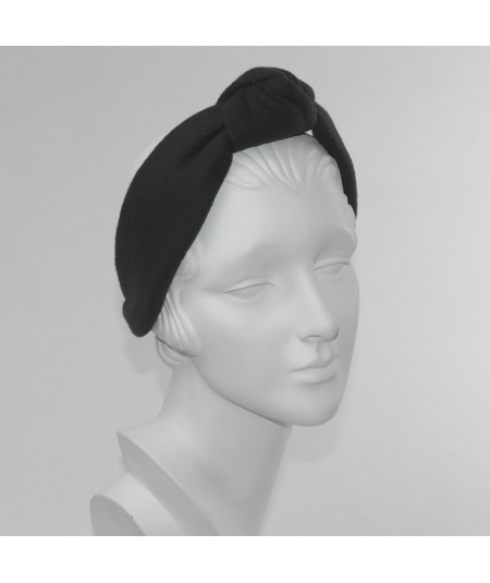 Fleece Center Turban Earmuff Headband Black