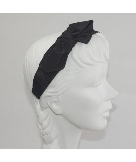 Black Bengaline Side Bow Headband