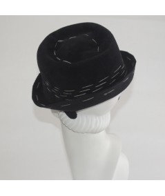 Trilby Felt Hat with Colored Stitch Band and Bow Headpiece Fascinator