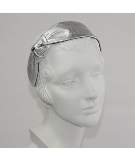 Metallic Leather Side Knot Headband