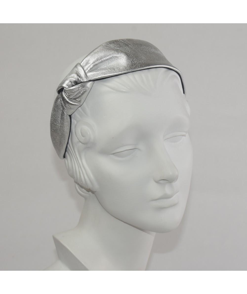 Metallic Leather Side Knot Headband