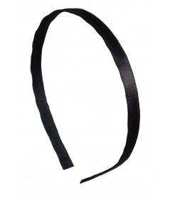 Black Satin Narrow Headband
