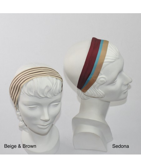 Jennifer Ouellette Retro Stripe Headband - Beige & Brown, Sedona