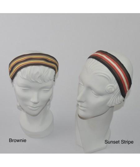 Jennifer Ouellette Retro Stripe Headband - Brownie, Sunset Stripe