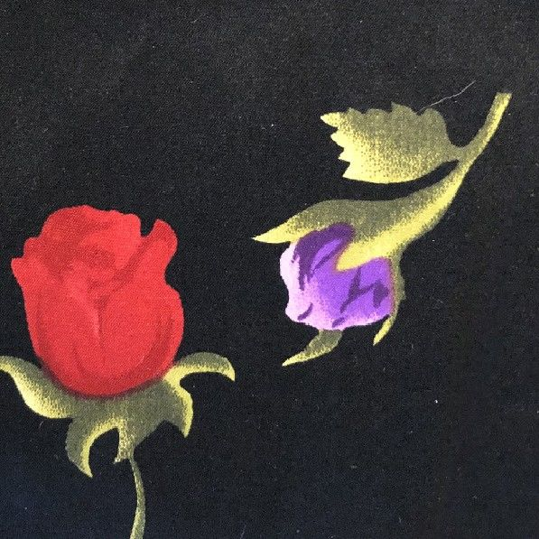 Red & Purple Roses on Black